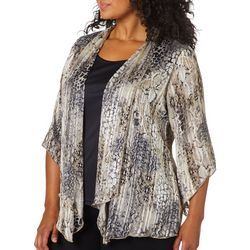 Sara Michelle Plus Snake Skin Print Duet Top & Necklace