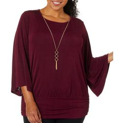 Sara Michelle Plus Solid Necklace Top