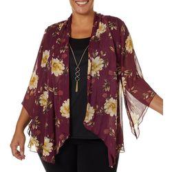 Sara Michelle Plus Floral Print Duet Necklace Top