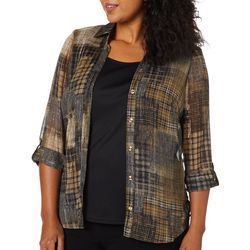 Sara Michelle Plus Plaid Print Duet Roll Tab Top