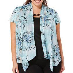Sara Michelle Plus Lurex Floral Print Crisscross Duet Top