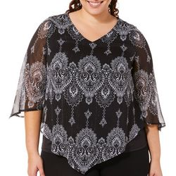Sara Michelle Plus Asymmetric Sleeve Lurex Poncho Top