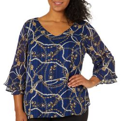 Sara Michelle Plus Luxe Jewel Print Poncho Top
