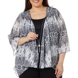 Sara Michelle Plus Damask Print Duet Necklace Top