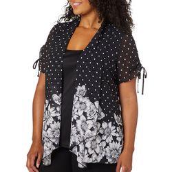 Sara Michelle Plus Floral Dot Sheer Duet Top