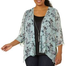 Sara Michelle Plus Floral Print Duet Necklace Top
