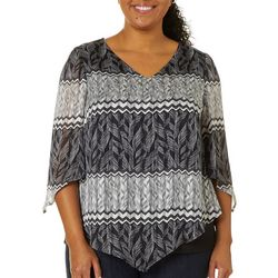 Sara Michelle Plus Leaf Print Tie Sleeve Poncho Top