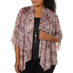 Sara Michelle Plus Paisley Print Duet Necklace Top