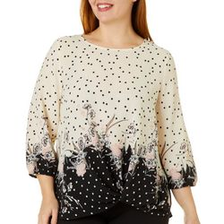 Sara Michelle Plus Mixed Floral Dot Print Twist Front Top