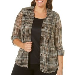 Sara Michelle Plus Houndstooth Print Shimmer Duet Top