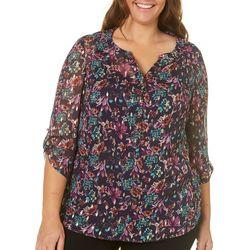 Sara Michelle Plus Floral Print Button Placket Top