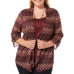 Sara Michelle Plus Chevron Print Shimmer Duet Top