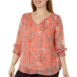 Sara Michelle Plus Floral Print Smocked Sleeve Top