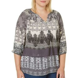 Figueroa and Flower Plus Grey Mixed Damask Print Peasant Top