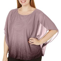 Sara Michelle Plus Ombre Linear Glitter Poncho Top