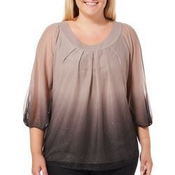 Sara Michelle Plus Pleated Ombre Glitter Ruched Sleeve Top