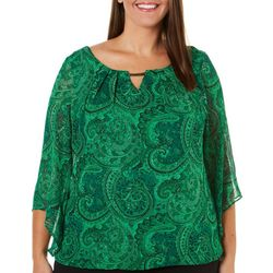 Sara Michelle Plus Paisley Glitter Top