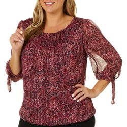Sara Michelle Plus Paisley Print Bubble Top