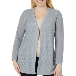 Belldini Plus Solid Diamond Textured Knit Cardigan