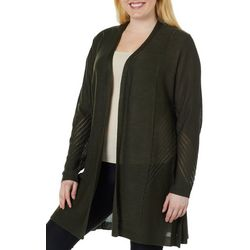 Belldini Plus Solid Open Knit Cardigan