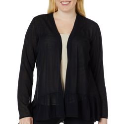 Belldini Plus Solid Ruffle Hem Cardigan
