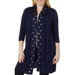 Belldini Plus Solid Grommet Trim Cardigan