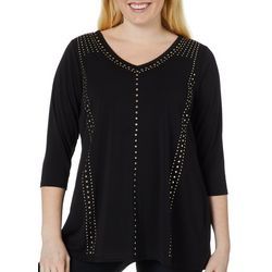 Belldini Plus Embellished Solid V-Neck Top