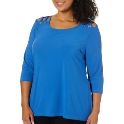 Belldini Plus Solid Grommet Shoulder Top