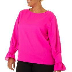 L.N.V. Plus Solid Round Neck Long Sleeve Top