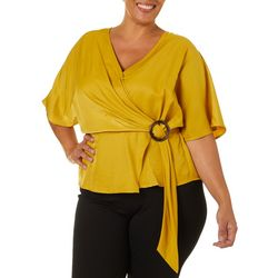 L.N.V. Plus Solid Faux Wrap Surplice Top