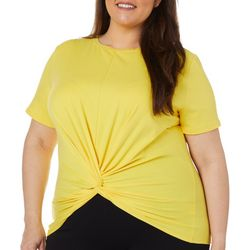 L.N.V. Plus Solid Twist Front Short Sleeve Top
