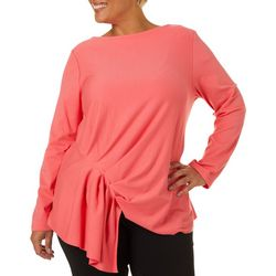 L.N.V. Plus Solid Twist Front Boat Neck Top