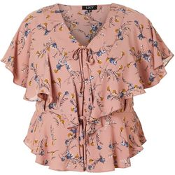 L.N.V. Plus Floral Print Tie Front Short Sleeve Top