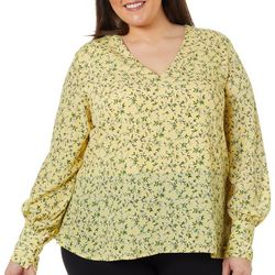 L.N.V. Plus Floral Print Long Sleeve V-Neck Top
