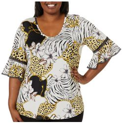 Stem & Vine Plus Luxe Jewel Animal Print Ruffle Sleeve Top