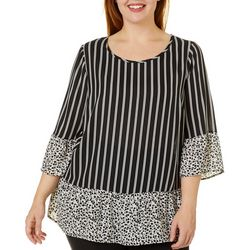 Chenault Plus Mixed Floral Stripe Bell Sleeve Top