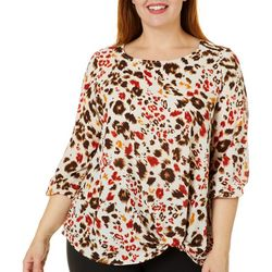 Chenault Plus Mixed Animal Print Twist Front Top
