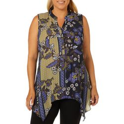 Spense Plus Floral Paisley Handkerchief Hem Sleeveless Top