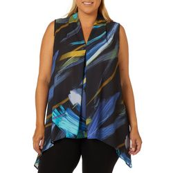 Spense Plus Painted Strokes Pleated Sleeveless Top