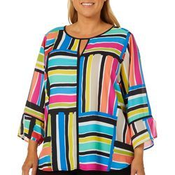 Spense Plus Striped Bell Sleeve Keyhole Top