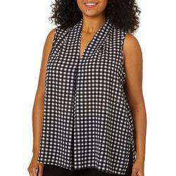 Spense Plus Checkered Print High-Low Sleeveless Top