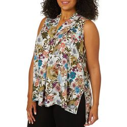 Spense Plus Retro Floral High-Low Sleeveless Top