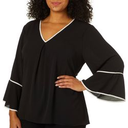 Spense Plus Solid Bell Sleeve V-Neck Top