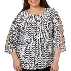 Spense Plus Circle Print Ladder Sleeve Top