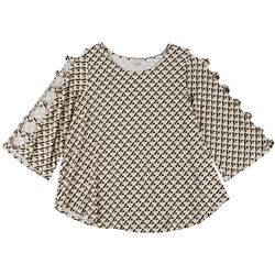 Spense Plus Diamond Print Ladder Sleeve Top