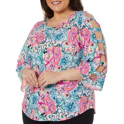 Spense Plus Abstract Print Ladder Sleeve Top