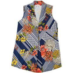 Plus Circle Floral Sunshine Print Sleeveless Top
