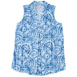 Spense Plus Circle Tie Dye Print Sleeveless Top
