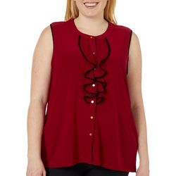 Cable & Gauge Plus Ruffle Front Sleeveless Top
