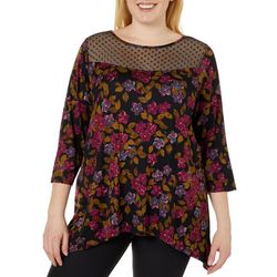 Cable & Gauge Plus Floral Mesh Sharkbite Hem Top